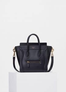 Celine Black Smooth Calfskin Nano Luggage Bag