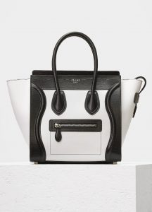 Celine Black/White Sleek Calfskin Micro Luggage Bag