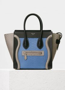 Celine Medium Blue Multicolor Python Micro Luggage Bag