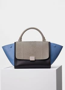 Celine Medium Blue Multicolor Python Small Trapeze Bag