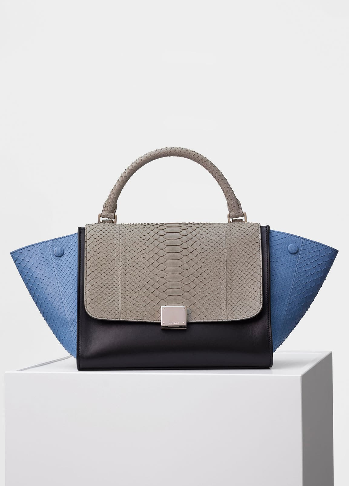 c8b0402a5ac90 Celine Medium Blue Multicolor Python Small Trapeze Bag