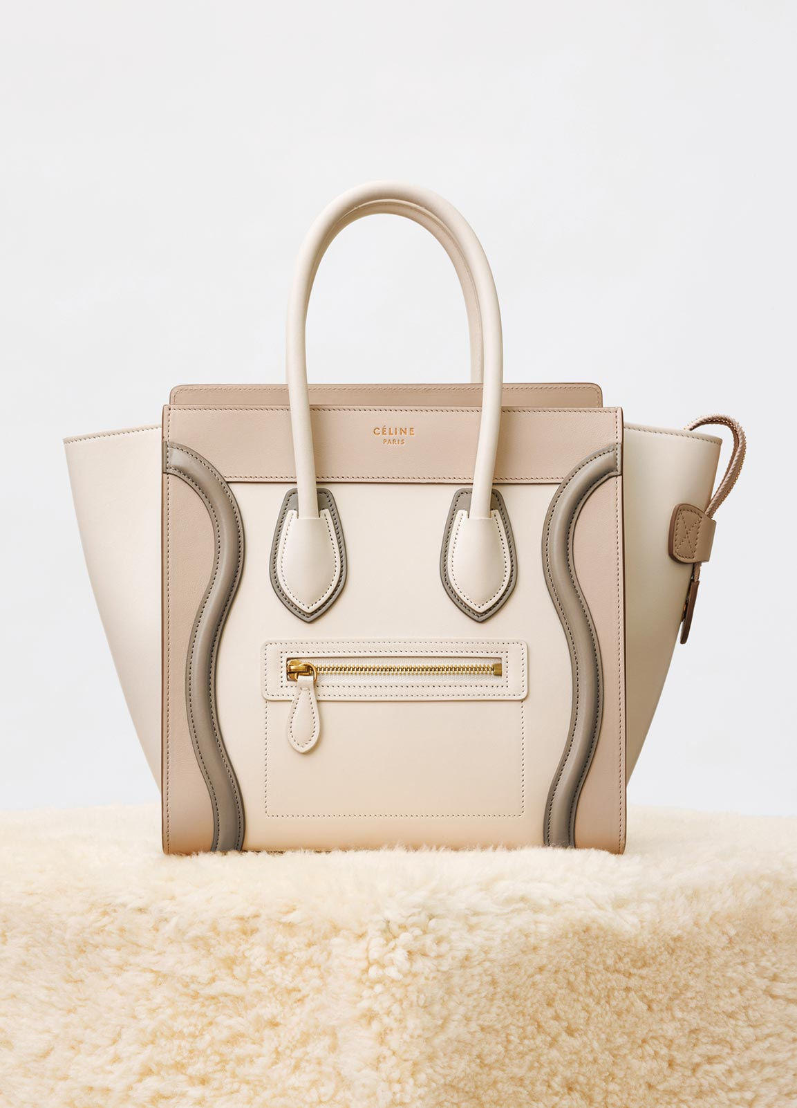 Celine Natural Multicolor Shiny Smooth Calfskin Micro Luggage Bag 5e3f87ffbc326