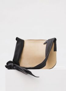 Celine Natural/Black Suede Small Ribbon Shoulder Bag