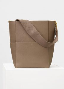 Celine Taupe Soft Grained Calfskin Sangle Shoulder Bag