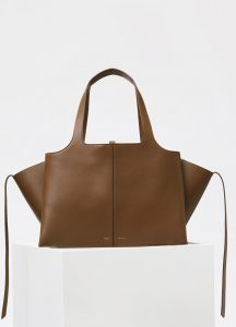 Celine Taupe Supple Natural Calfskin Medium Tri-Fold Shoulder Bag