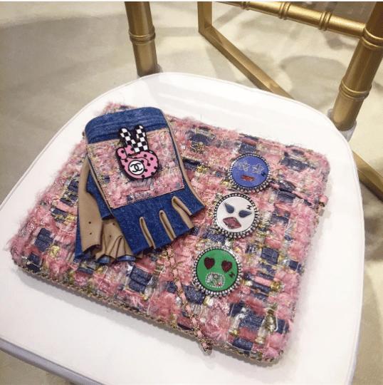 4b10039d96b1 Chanel Pink Blue Tweed Clutch Bag - Fall 2016. IG  faye tsui