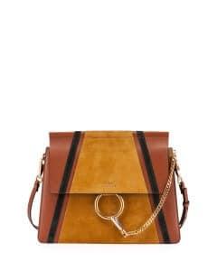 Chloe Classic Tobacco Calfskin/Suede Patchwork Medium Bag