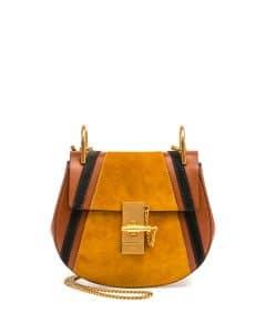 Chloe Classic Tobacco Calfskin/Suede Patchwork Mini Drew Bag