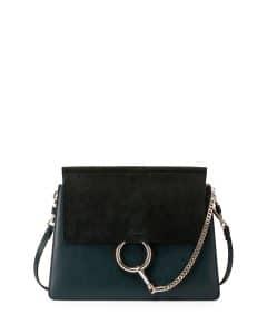 Chloe Fresh Blue/Black Suede/Leather Medium Faye Bag