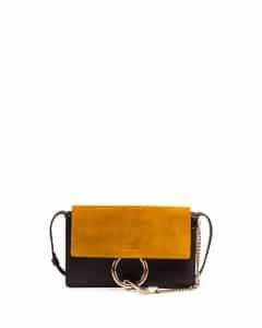 Chloe Full Blue/Mustard Suede Small Faye Bag