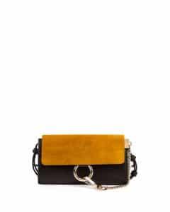 Chloe Full Blue/Mustard Suede/Leather Faye Wallet-on-a-Strap