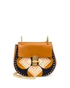 Chloe Mustard Brown Python Patchwork Drew Bag