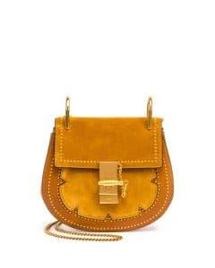 Chloe Mustard Brown Studded Mini Drew Bag