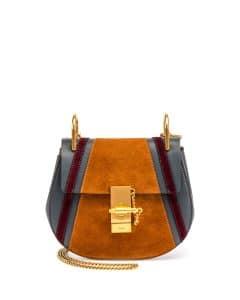 Chloe Silver Blue Calfskin/Suede Patchwork Mini Drew Bag