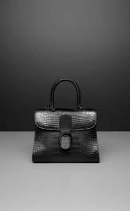 Delvaux Noir Alligator Echec Mat Brillant MM Bag