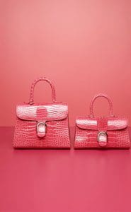 Delvaux Rose Candy Alligator Brillant MM and Brillant East/West Mini Bags