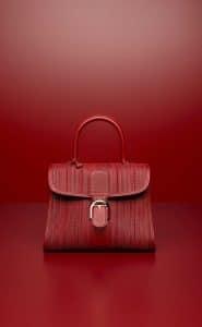 Delvaux Rouge de Pourpre Toile de Cuir Brillant MM Bag