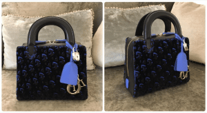 Dior Black/Blue Print Fabric Lily Bag 2