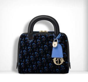 Dior Black/Blue Print Fabric Lily Bag