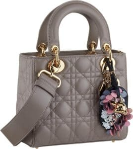Dior Gray Small Lady Dior Bag