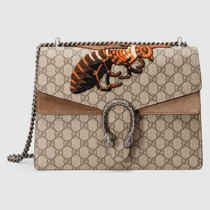 Gucci Bee Embroidered GG Supreme Medium Dionysus Shoulder Bag