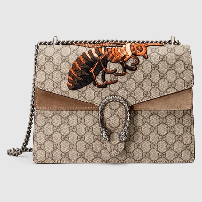 484adbef9 Gucci Bee Embroidered GG Supreme Medium Dionysus Shoulder Bag