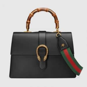 Gucci Black Dionysus Large Bamboo Top Handle Bag