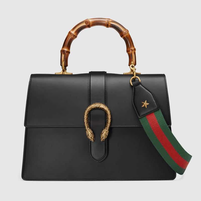 255963104f5 Gucci Black Dionysus Large Bamboo Top Handle Bag