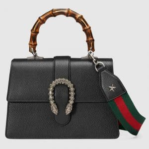 Gucci Black Dionysus Medium Bamboo Top Handle Bag