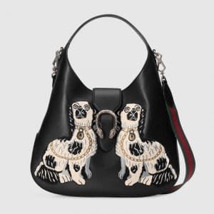 Gucci Black Dog Embroidered Dionysus Large Hobo Bag