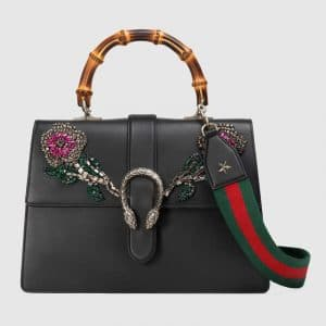 Gucci Black Embroidered Dionysus Large Bamboo Top Handle Bag
