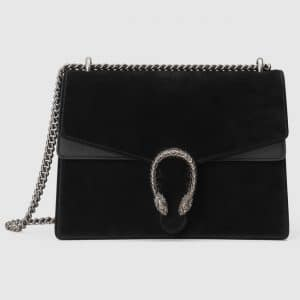 Gucci Black Suede Medium Dionysus Shoulder Bag