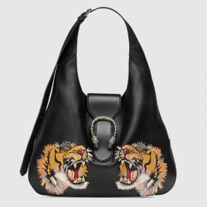 Gucci Black Tiger Embroidered Dionysus Maxi Hobo Bag