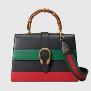 Gucci Black/Green/Red Striped Dionysus Large Bamboo Top Handle Bag