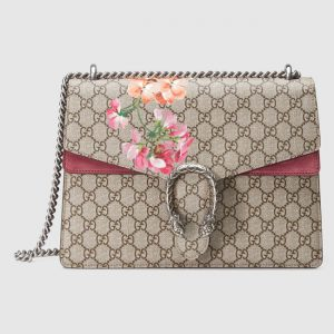 Gucci Blooms Print GG Supreme Medium Dionysus Shoulder Bag