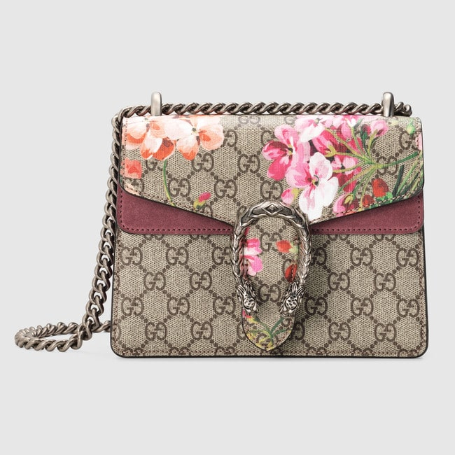 d20f486a05f0 Gucci Blooms Print GG Supreme Mini Dionysus Shoulder Bag