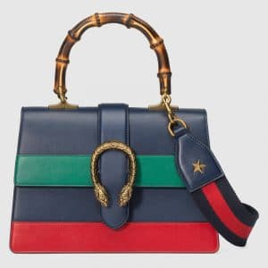 Gucci Blue/Green/Red Dionysus Medium Bamboo Top Handle Bag
