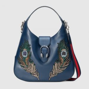 Gucci Dark Blue Peacock Embroidered Dionysus Large Hobo Bag