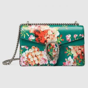 Gucci Emerald Green Blooms Print Small Dionysus Shoulder Bag