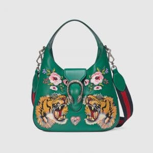 Gucci Emerald Tiger Embroidered Dionysus Small Hobo Bag