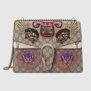 Gucci Fish Embroidered GG Supreme Medium Dionysus Shoulder Bag