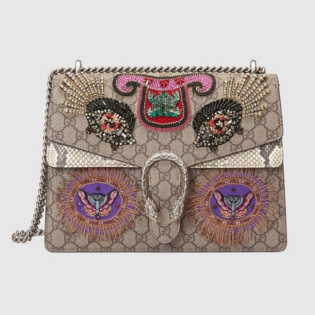 a8a9cf66034b Gucci Fish Embroidered GG Supreme Medium Dionysus Shoulder Bag