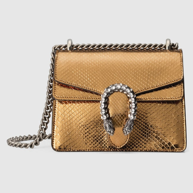 0c7fd5ee295 Gucci Gold Metallic Python Mini Dionysus Shoulder Bag