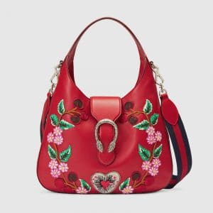 Gucci Hibiscus Red Floral Embroidered Dionysus Medium Hobo Bag