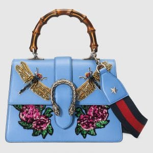 Gucci Light Blue Embroidered Dionysus Medium Bamboo Top Handle Bag