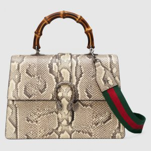 Gucci Natural Python Dionysus Large Bamboo Top Handle Bag