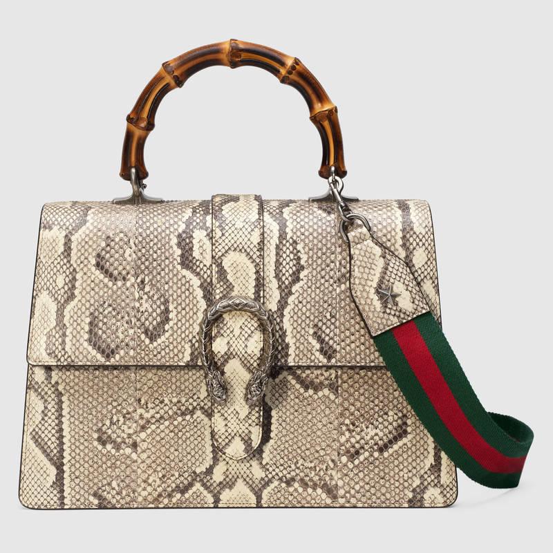 6bff904d685 Gucci Natural Python Dionysus Large Bamboo Top Handle Bag