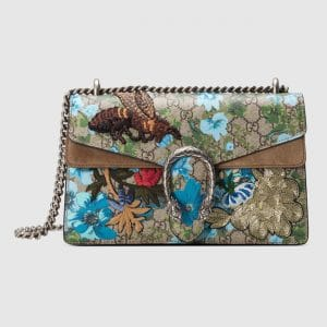 Gucci Painted Flowers and Patches GG Supreme Small Dionysus Shoulder Bag