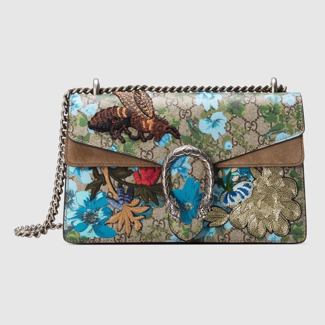 0eb0cf08f Gucci Painted Flowers and Patches GG Supreme Small Dionysus Shoulder Bag
