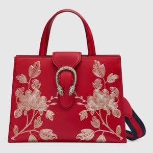 Gucci Red Chinese New Year Dionysus Medium Top Handle Bag